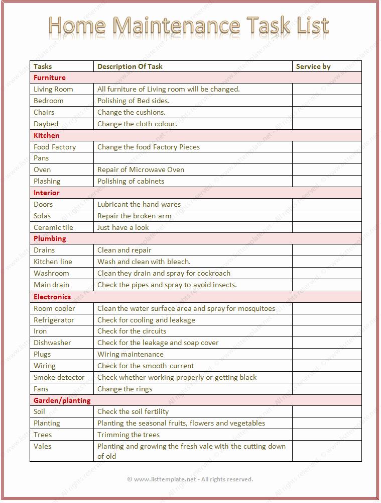 Apartment Maintenance Checklist Template Unique Apartment Maintenance Checklist Template Gecce