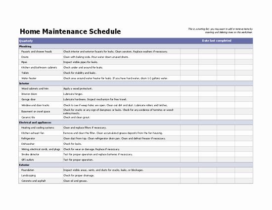 Apartment Maintenance Checklist Template Unique Home Maintenance Schedule