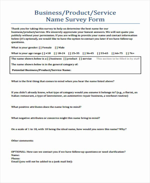 Apartment Market Survey form Lovely Printable Survey form 55 Examples In Pdf Word