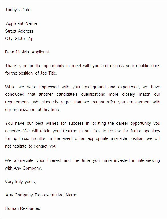 Application Rejection Letter Awesome 27 Rejection Letters Template Hr Templates