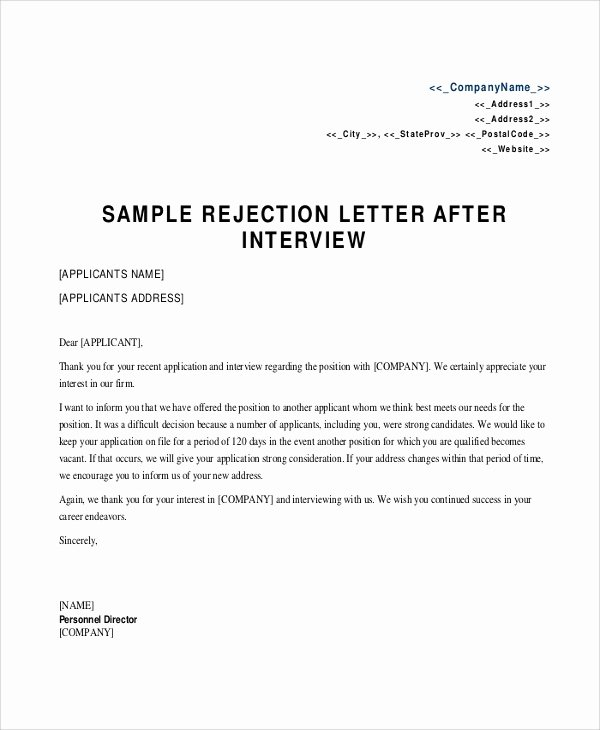 Application Rejection Letter Awesome 8 Sample Rejection Letters