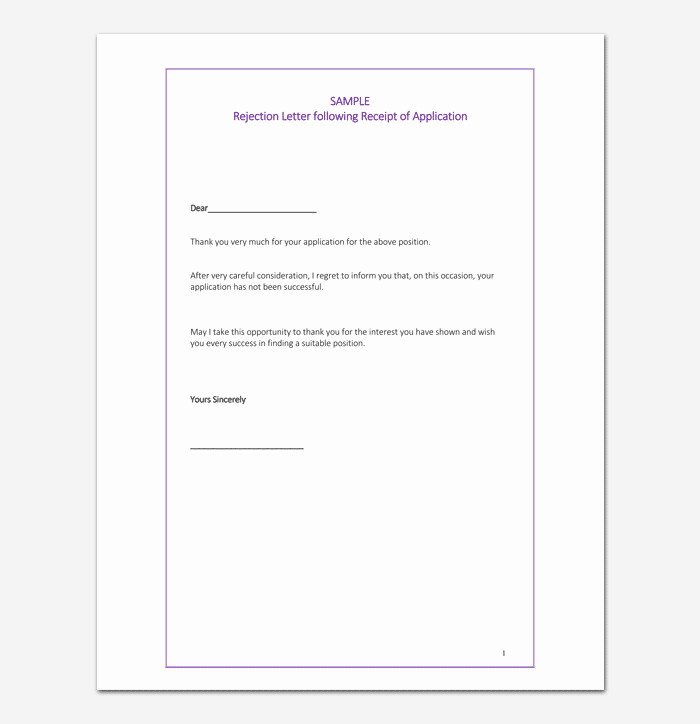 Application Rejection Letter Awesome Grant Rejection Letter Samples Examples & formats