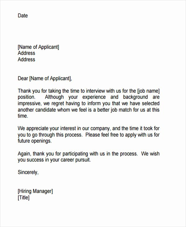 Application Rejection Letter Fresh 9 Job Application Rejection Letters Templates for the