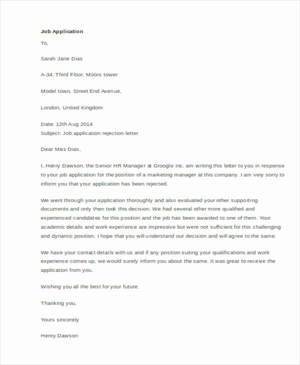 Application Rejection Letter Lovely 11 Sample Job Rejection Letters
