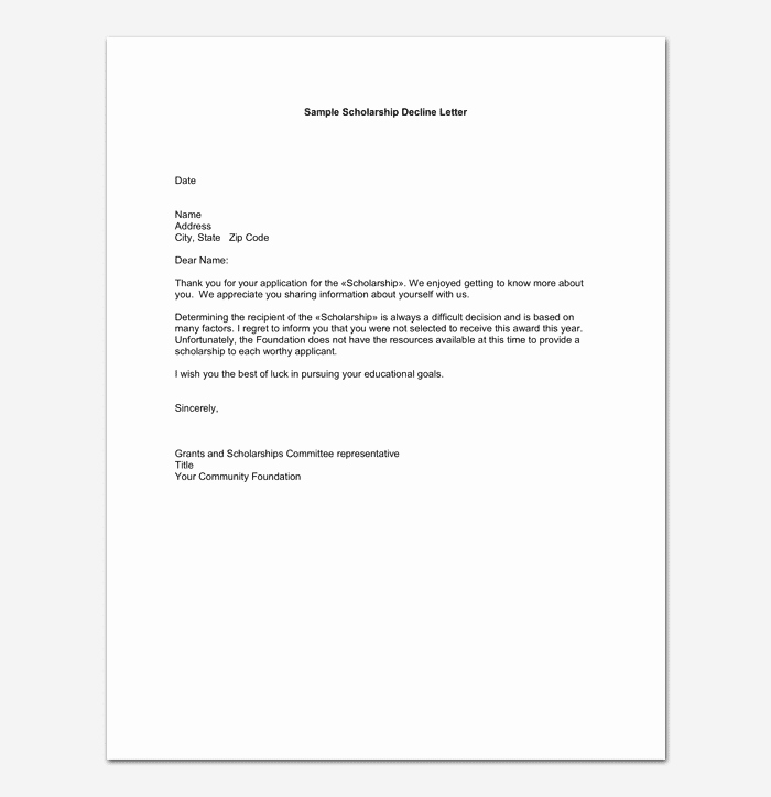 Application Rejection Letter Lovely Grant Rejection Letter Samples Examples & formats