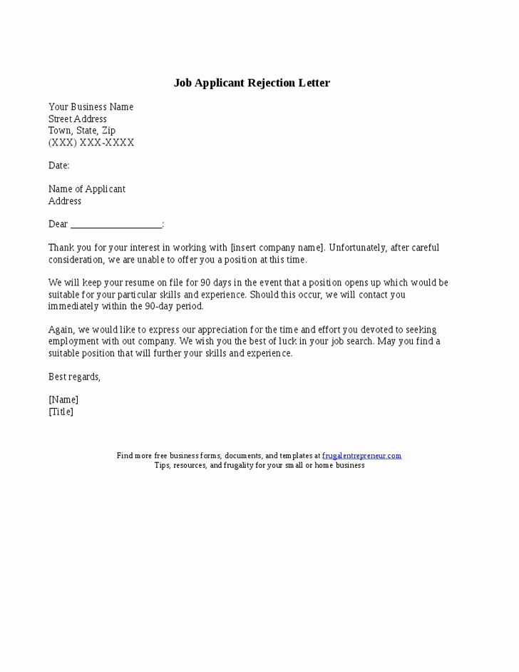 Application Rejection Letter Luxury 20 Applicant Rejection Letter Samples