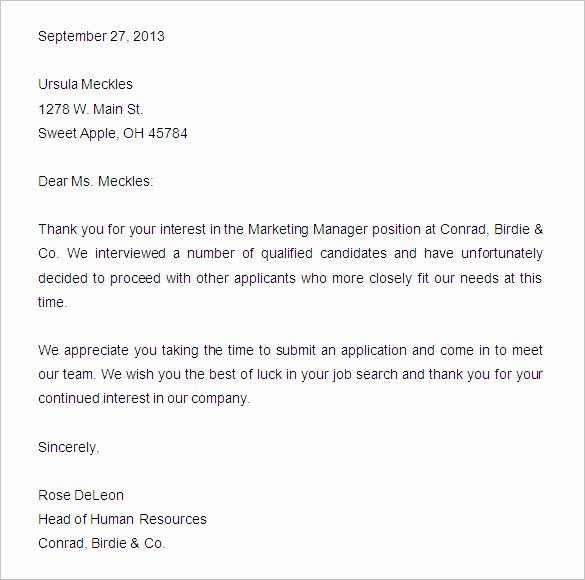 Application Rejection Letter New 27 Rejection Letters Template Hr Templates