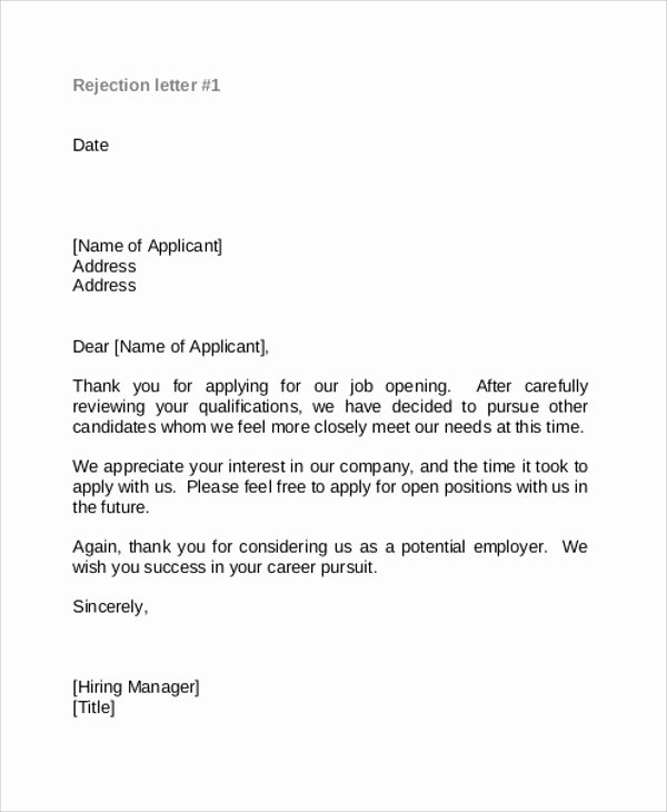Application Rejection Letter Unique 9 Rejection Thank You Letter Free Sample Example