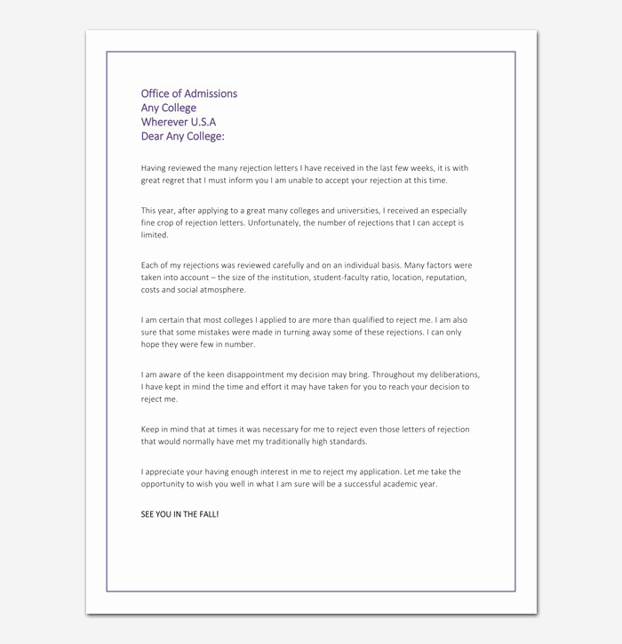 Application Rejection Letter Unique College Rejection Letter Template Samples & Examples