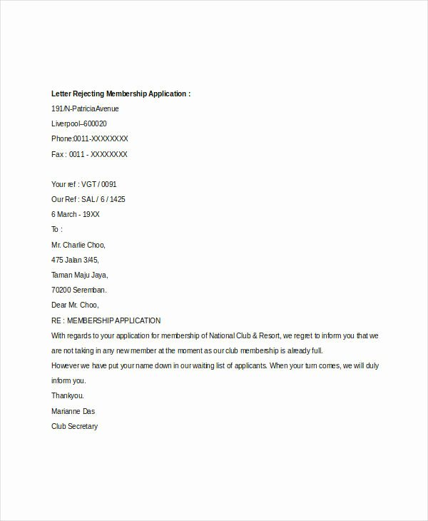 Application Rejection Letter Unique Membership Application Letters 4 Free Word Pdf