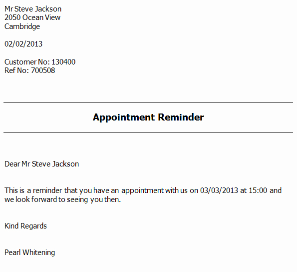 Appointment Reminder Template Word Beautiful Appointment Reminder Letter software Appointment