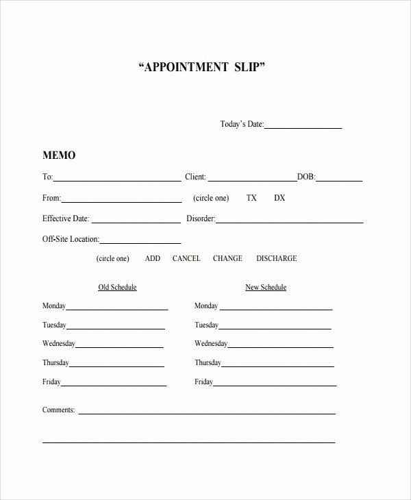 Appointment Reminder Template Word Beautiful Sample Appointment Slip Template 7 Free Documents