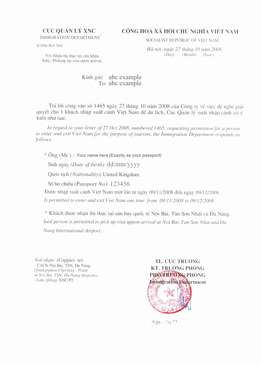 Approval Letter Example Beautiful Vietnam Visa On Arrival