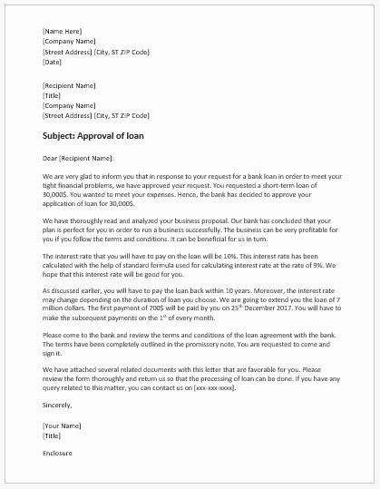 Approval Letter Example New Bank Loan Approval Letter Template