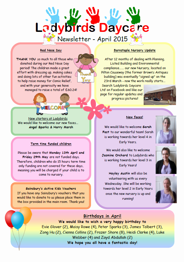 April Newsletter Template Awesome Past Newsletters Ladybirds Daycare Barnstaple Devon