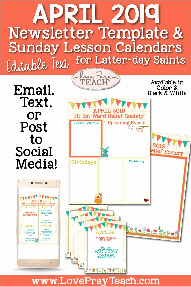 April Newsletter Template Beautiful April 2019 Editable Newsletter Template and Sunday Lesson