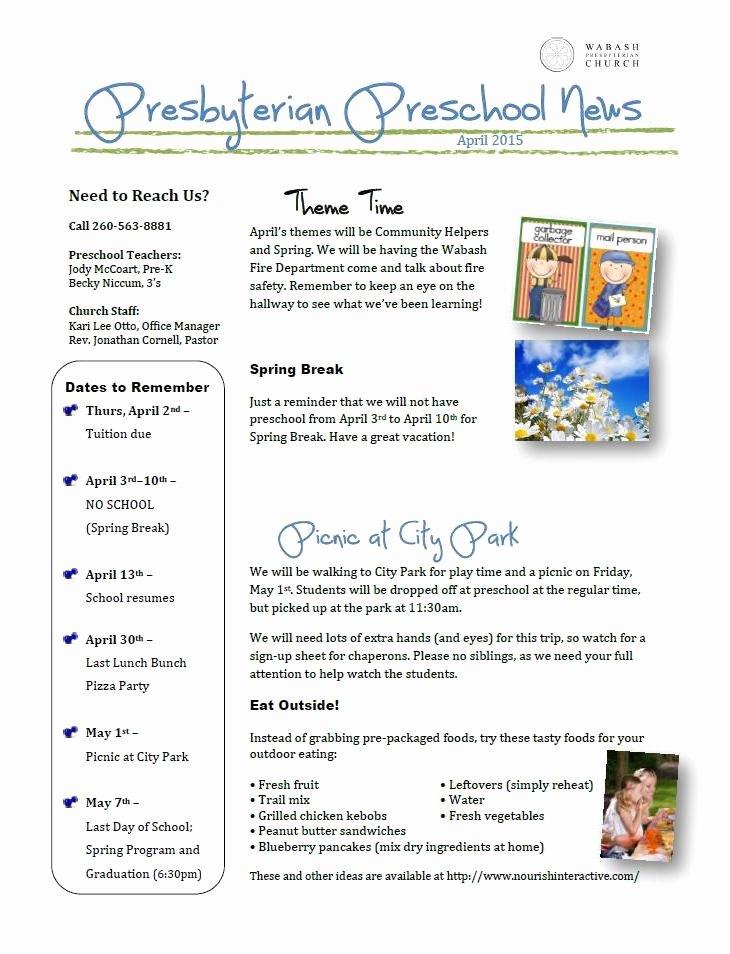 April Newsletter Template Elegant April Newsletter Ideas for Preschool Ritzybitzy