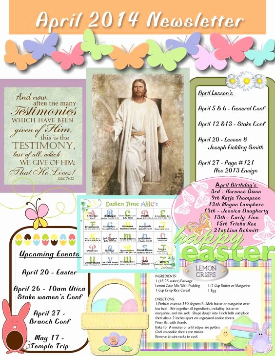 April Newsletter Template Inspirational April Relief society Newsletter My Creations