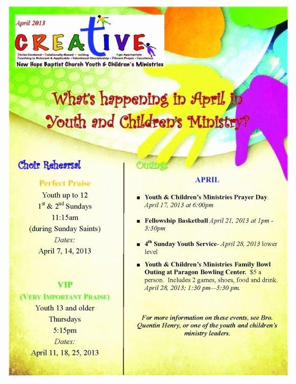 April Newsletter Template Lovely Youth & Children S Creative Newsletter April 2013