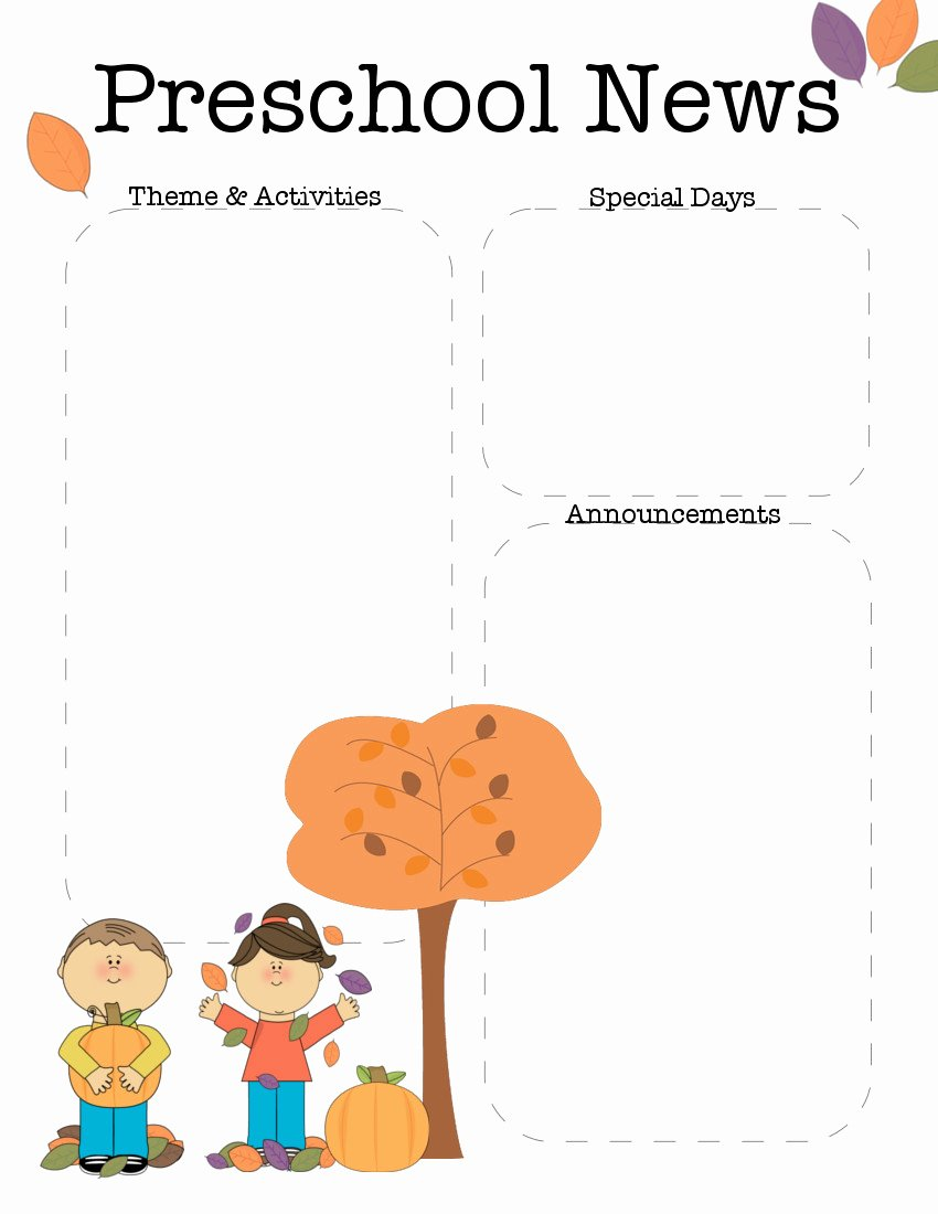 April Newsletter Template Luxury October Preschool Newsletter Template