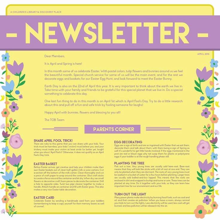 April Newsletter Template Unique 16 Best Newsletter Ideas Images On Pinterest