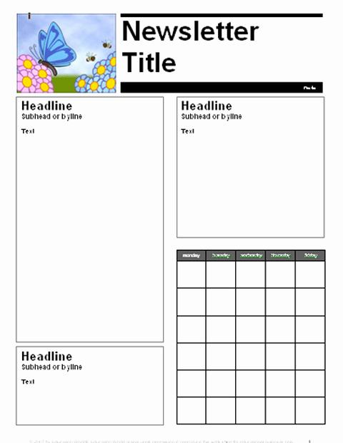 April Newsletter Template Unique April Parent Newsletter Template