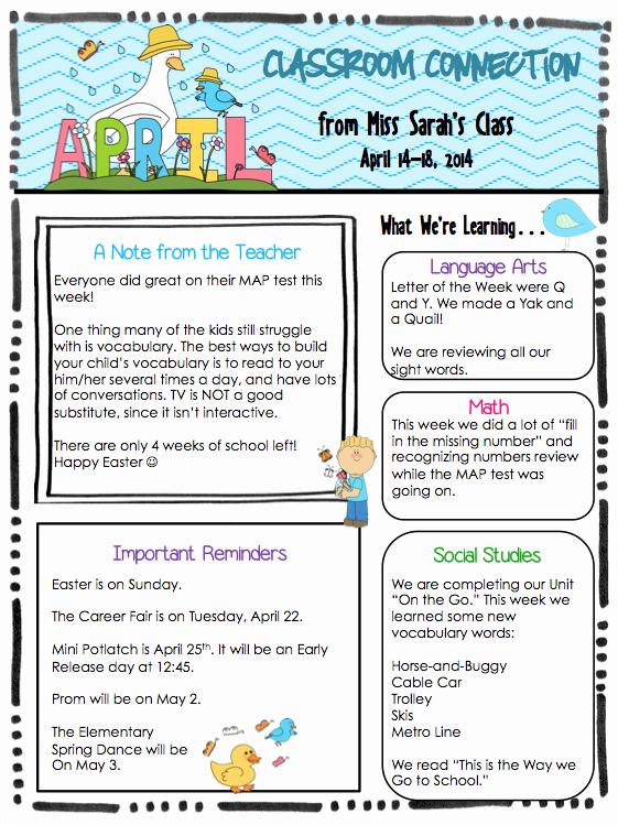 April Newsletter Template Unique Kindergarten April 18 Newsletter