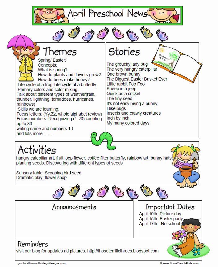 April Newsletter Template Unique Those Terrific Three S at All God S Children Mdo Preschool