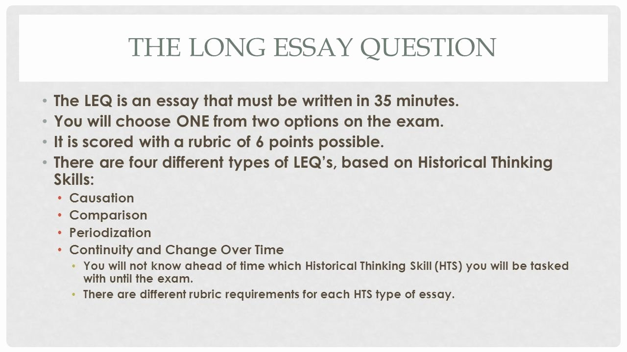 Apush Long Essay Examples 2015 Best Of How to Write the Long Essay Question Ppt