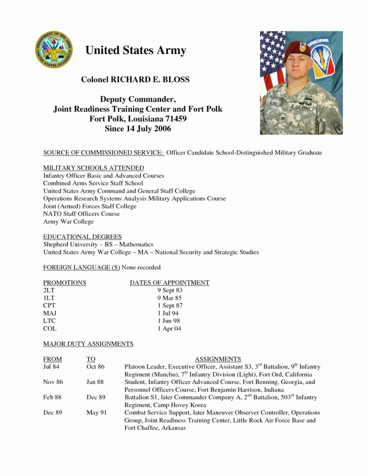 Army Board Biography Example Beautiful 19 Of Short Army Bio Template Free