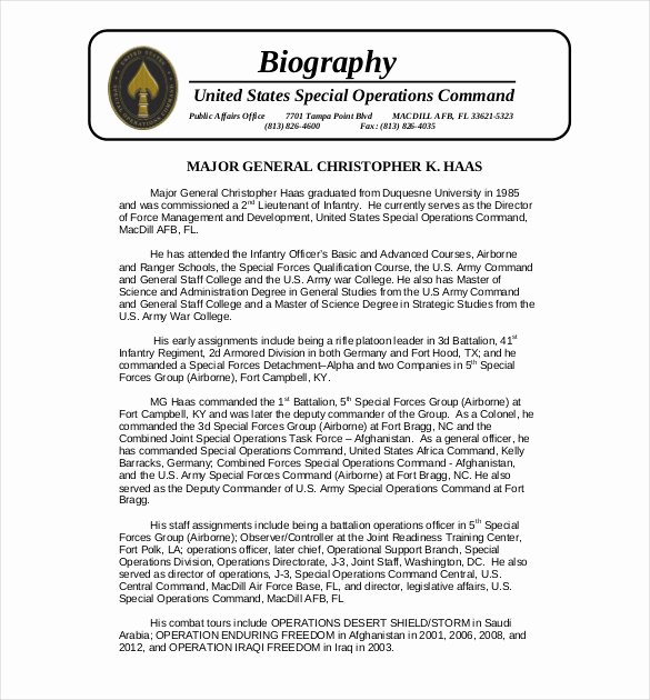 Army Board Biography Example Beautiful 25 Biography Templates Doc Pdf Excel