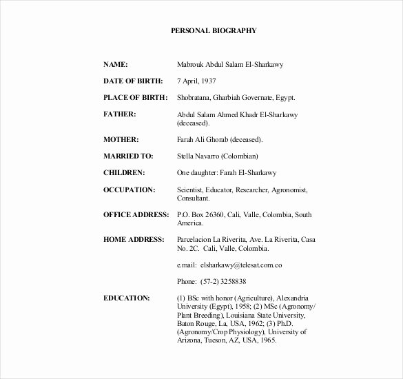 Army Board Biography Example Elegant 19 Of Short Army Bio Template Free