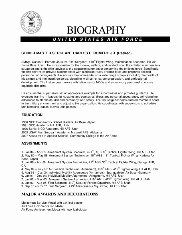 Army Board Biography Example Fresh Military Bio Carlos Romero Jr