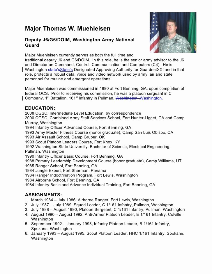 Army Board Biography Example Inspirational Military Biography