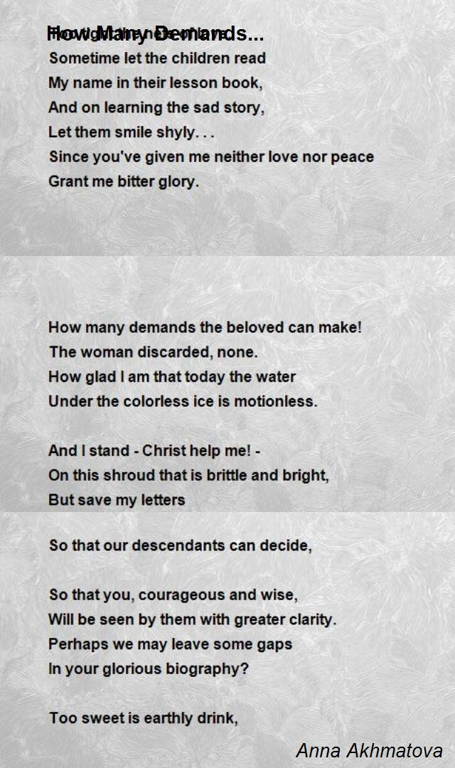Army Board Biography Example Unique How Many Demands Poem by Anna Akhmatova Poem Hunter