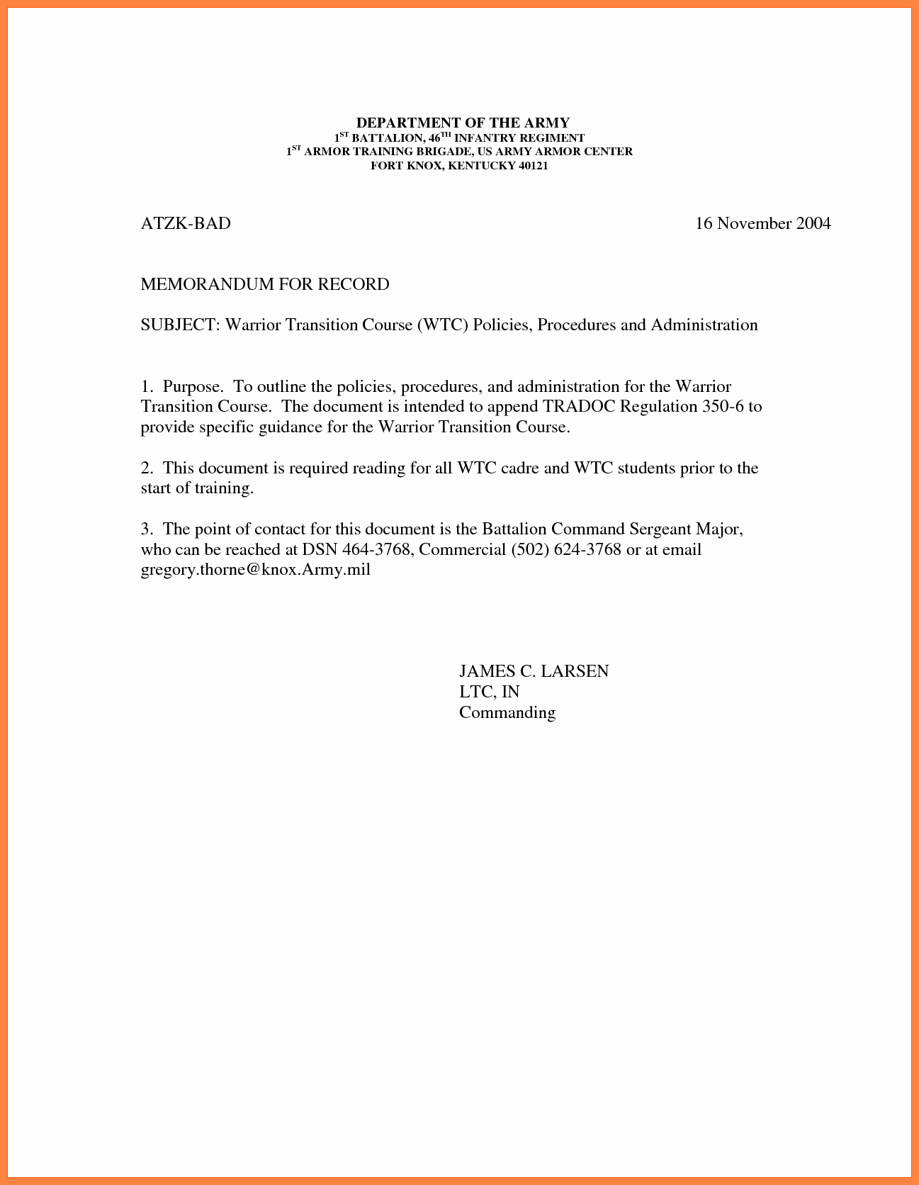 Army Memorandum for Record Template Awesome 9 Memorandum for Record Army