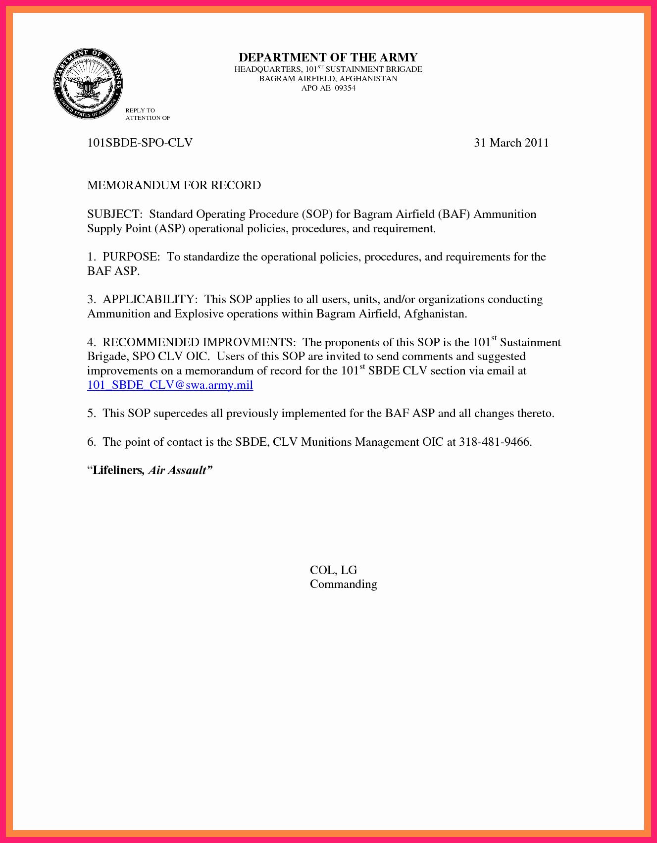 Army Memorandum for Record Template Beautiful Memorandum for Record Army