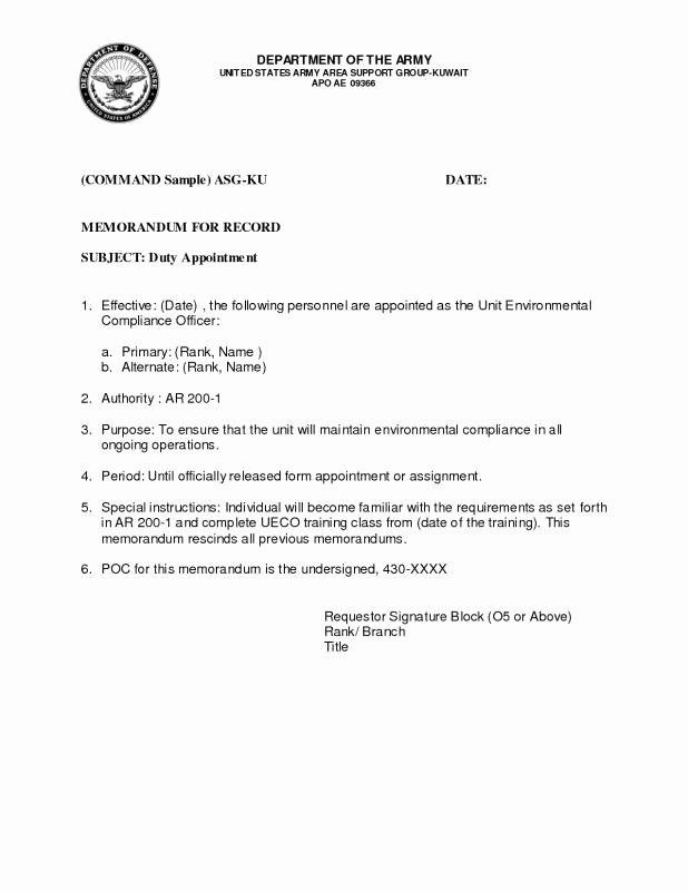 Army Memorandum for Record Template Best Of Army Memorandum for Record Template
