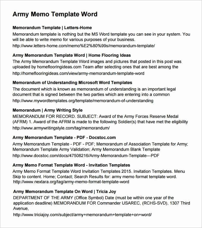 Army Memorandum for Record Template Inspirational Army Memorandum Templates Find Word Templates