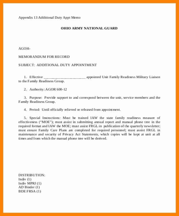 Army Memorandum for Record Template Lovely 15 Memorandum Of Record Army