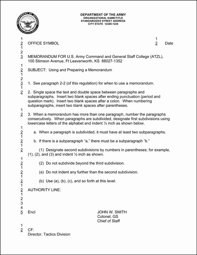 Army Memorandum for Record Template New 10 Best Of Army Informal Memorandum Example
