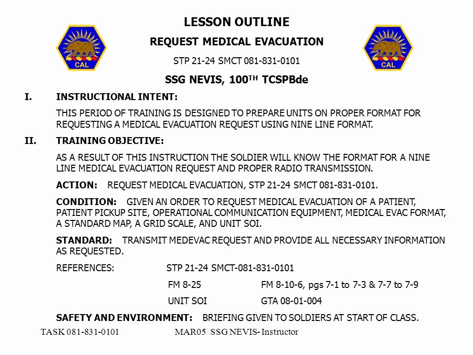 Army Training Outline Template Inspirational Request Medical Evacuation Ppt Video Online