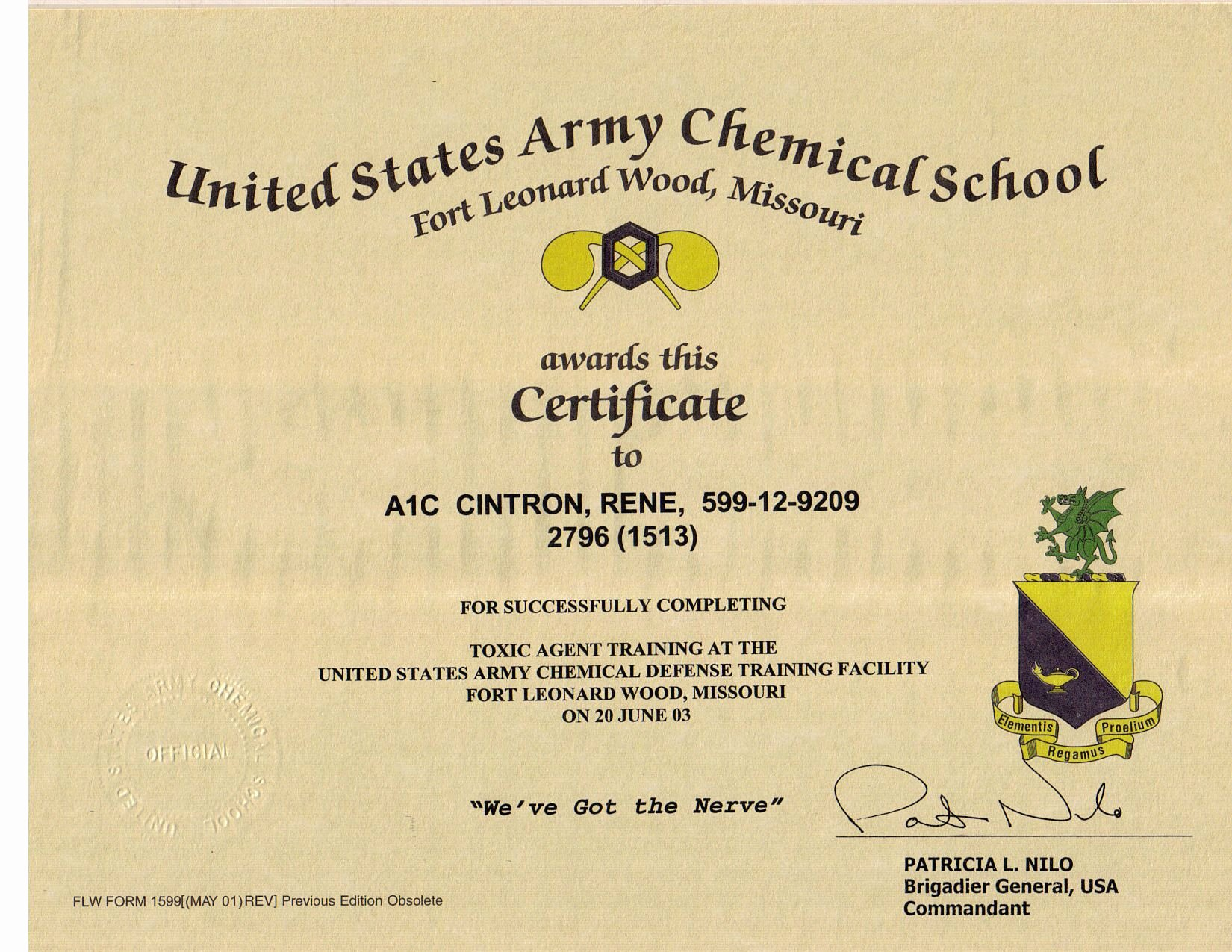 Army Training Schedule form Inspirational Rene Cintron Electronic Portfolio
