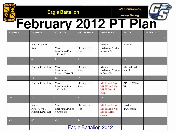 Army Training Schedule form Luxury Army Pt Calendar Fillable Bing Images