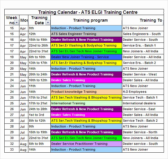 Army Training Schedule Template Elegant Training Calendar – 8 Free Samples Examples format