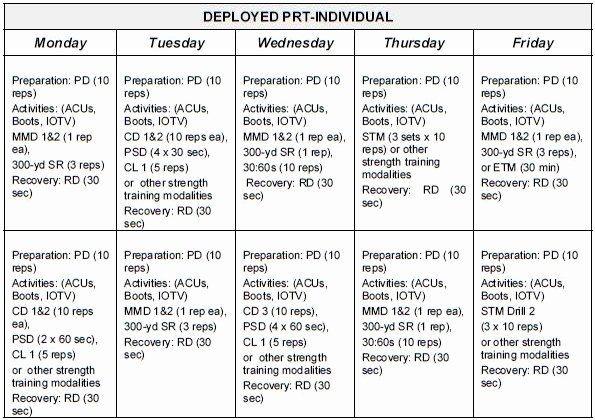Army Training Schedule Template Unique Sustaining Phase Prt Schedules