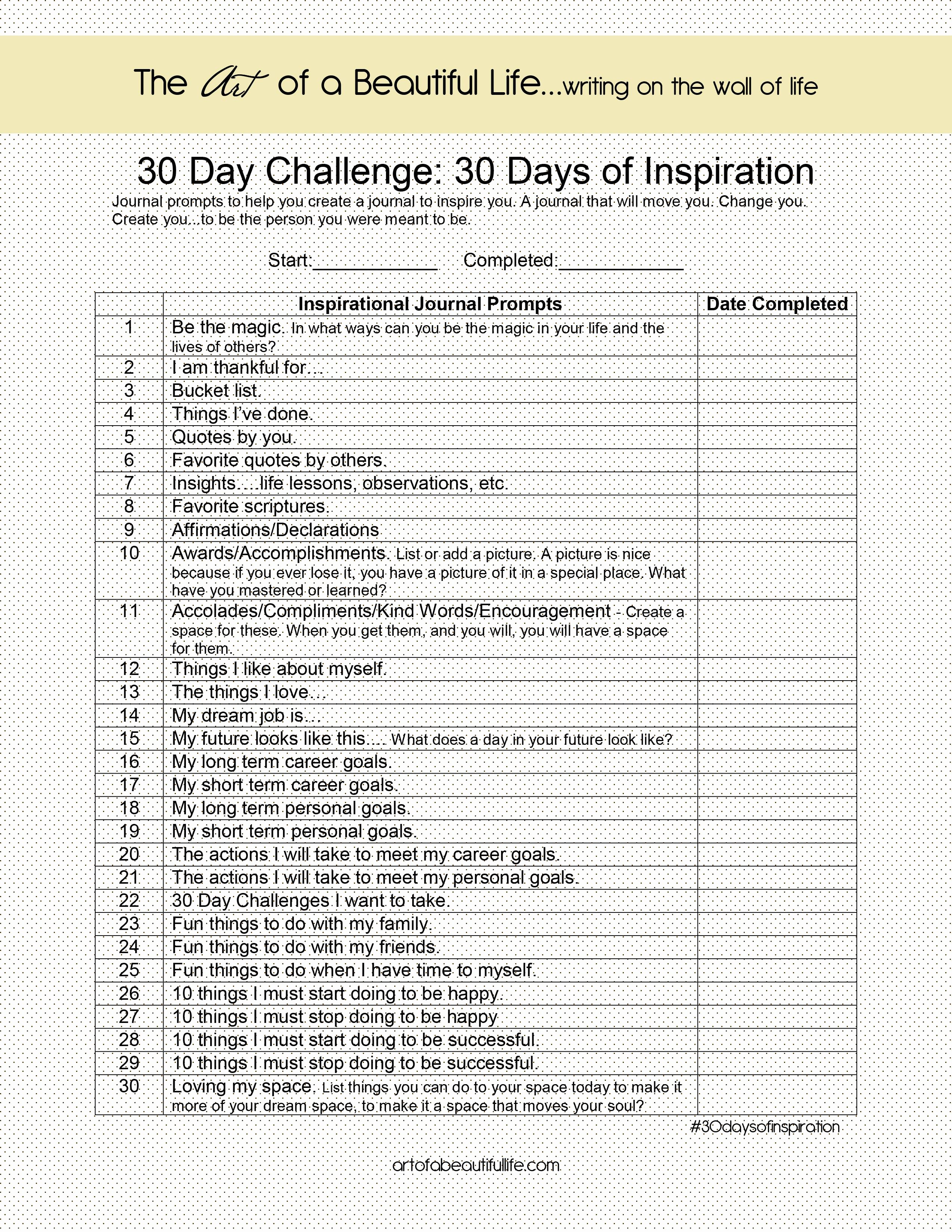 Art Institute Essay Prompt Inspirational 30 Day Challenge Inspirational Journal 30 Days Of