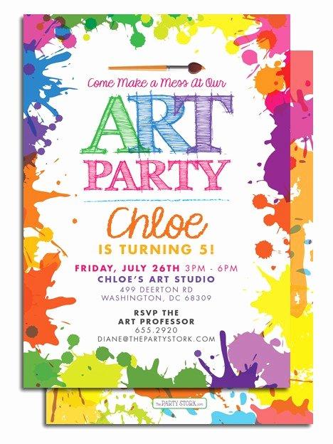 Art Show Invitation Template Elegant Art themed Birthday Party Invitations