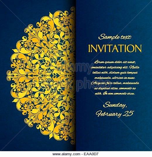 Art Show Invitation Template Elegant ornamental Invitation Card Gold Template Stock S