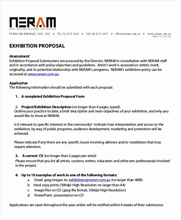Artist Proposal Example New Exhibition Proposal Templates 9 Free Word Pdf format